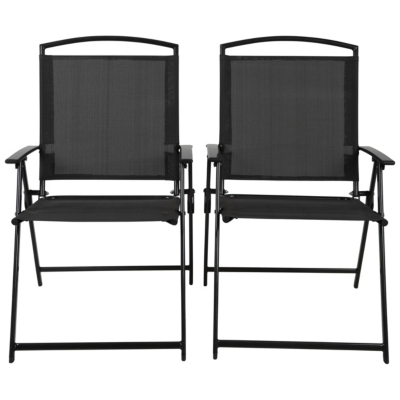 Miami 2 Folding Patio Chairs - Black & Charcoal