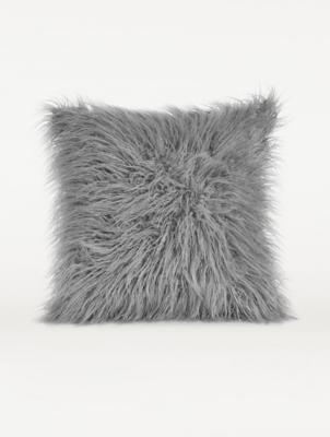 light grey mongolian faux fur cushion