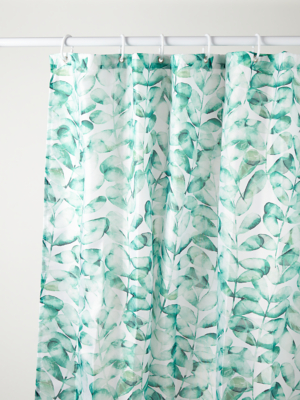 green and white leaf print fabric shower curtain