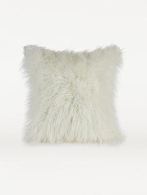 white mongolian faux fur large cushion