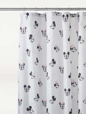 white disney mickey and minnie mouse shower curtain