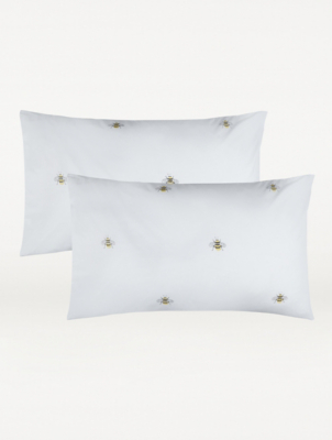 white bee patterned pillowcase pair