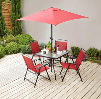 miami 6 piece red patio set with red cushion packs