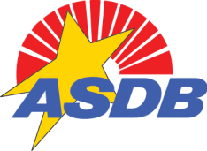 ASDB Logo represented by a yellow star, red sun rays, and the letters ASDB.