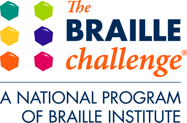 Braille Challenge logo featuring geometrical shapes with text