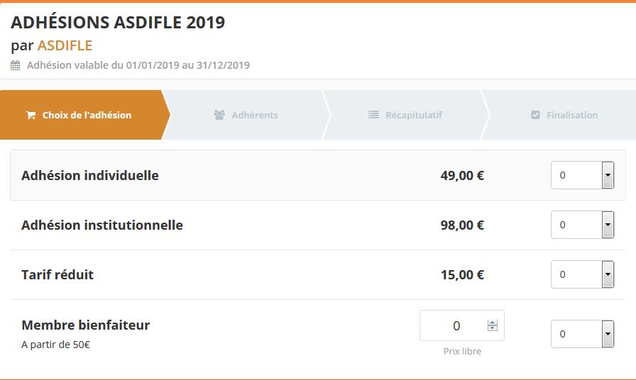 Adhésions Asdifle 2019 en ligne