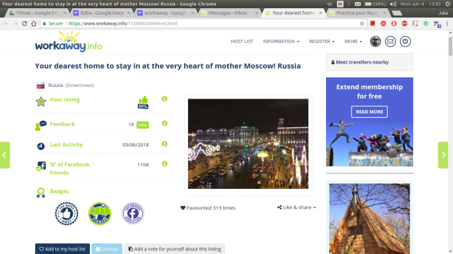 moscow workaway