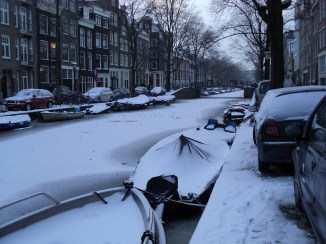 Canais congelados Amsterdam