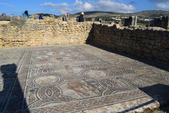 Volubilis ruinas romanas Marrocos mosaico 2