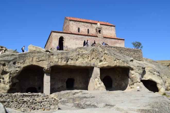Uplistsikhe cidade cavernas Georgia igreja em cima do templo