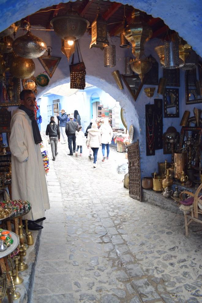 Marrocos Chefhaouen cidade azul souqs lojas