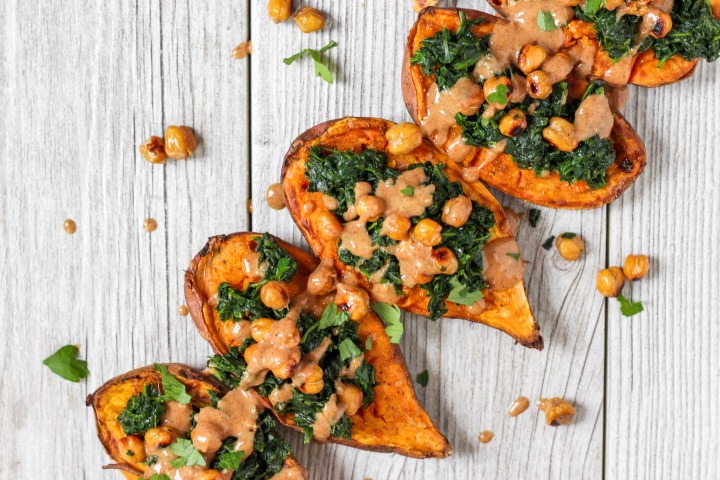 Chickpea and Spinach Curry Sweet Potatoes