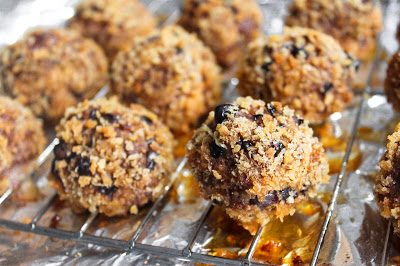 baked crunchy taco meatballs on a baking sheet