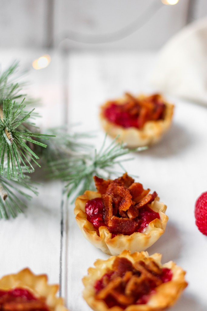Baked Brie and Raspberry Bacon Phyllo Cups close up