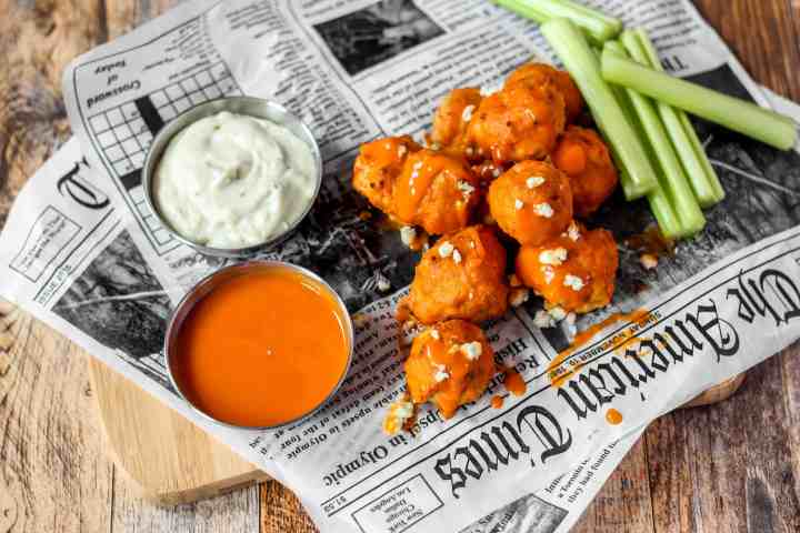 Buffalo Chicken Meatballs overhead shot