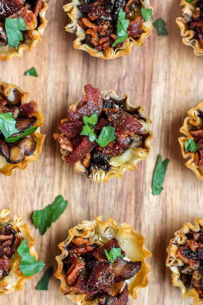 Brie mushroom and bacon phyllo cups