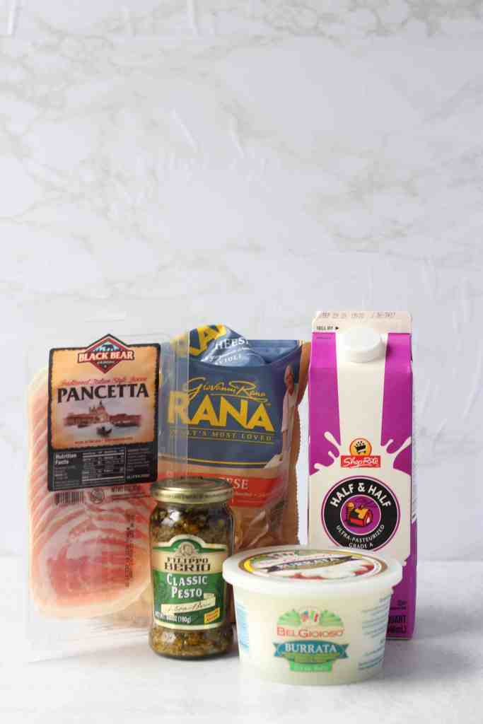 photo of the ingredients. Pancetta package, ravioli, pesto, burrata, half & half