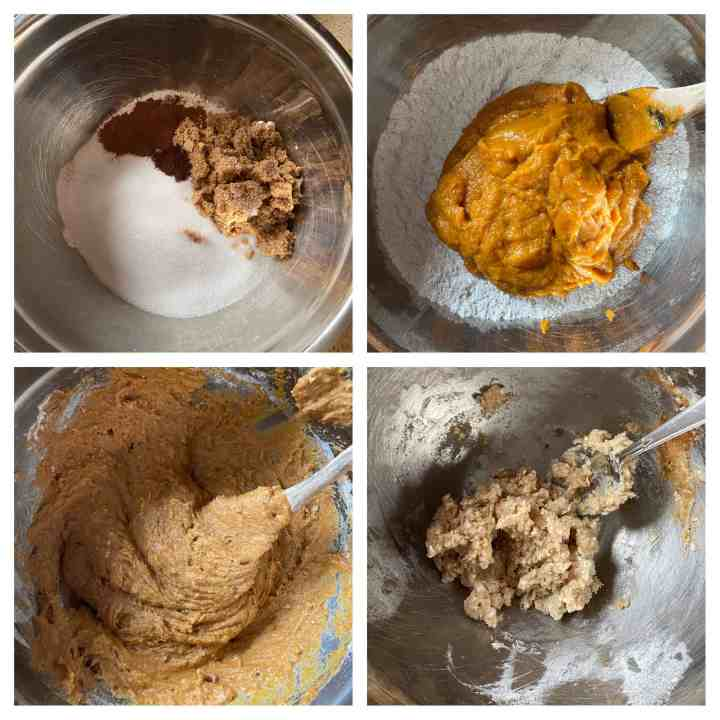 collage of 4 photos making the muffin batter. Upper left: dry ingredients in a bowl. Upper right: adding the pumpkin mixture into the dry ingredients Lower left: mixing the dry and wet ingredients together.  Lower right: Making the streusel