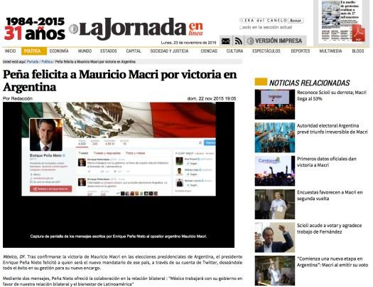 Peña felicita a Macri