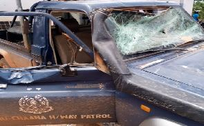One of the vandalised police vehicles