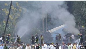 Plumes of smoke rose above the Cuba crash site