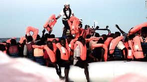 The search-and-rescue ship Aquarius carrying migrants from six different rescue operations