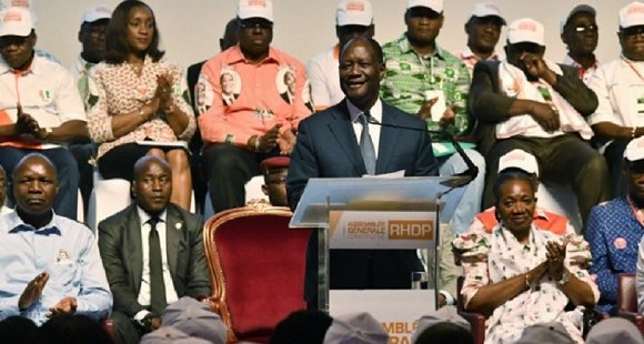 Ivory Coast President Alassane Ouattara speaks during the founding of the RHDP party