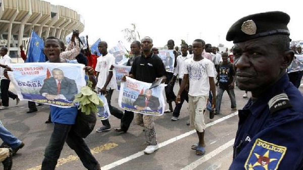 Some supporting of former Vice President Jean-Pierre Bemba in a street march