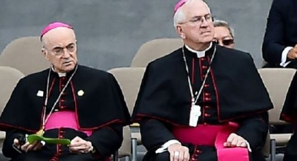 Archbishop Vigano (L) is said to be in hiding after he accused the Pope of ignoring clerical sex