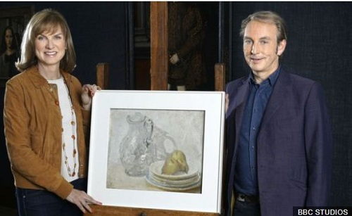 Fiona Bruce and art dealer Philip Mould with the painting