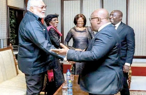 President Akufo-Addo and Veep, Dr Bawumia welcoming Jerry John Rawlings and wife