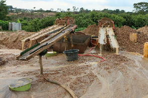 An illegal mining site