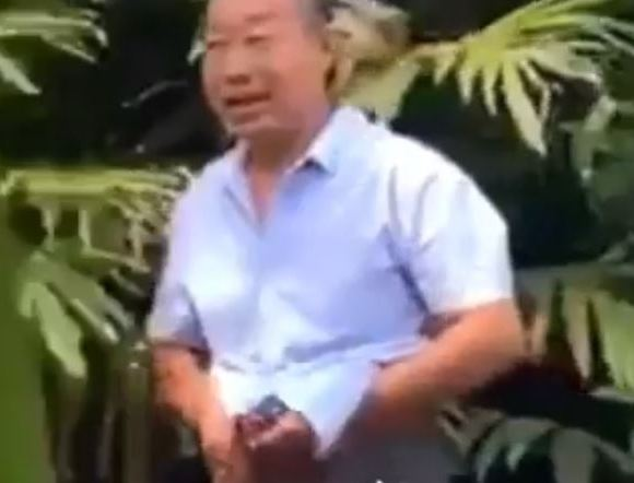 Chinese caught defecating