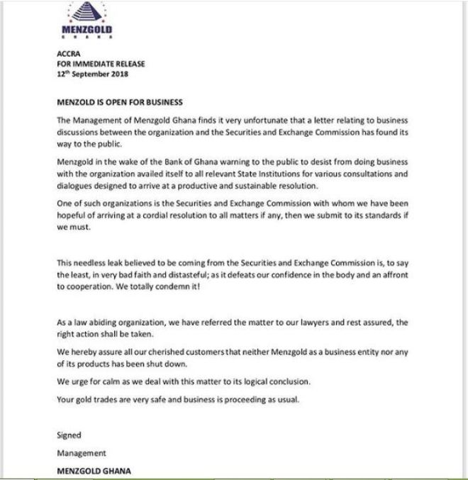 Menzgold press release