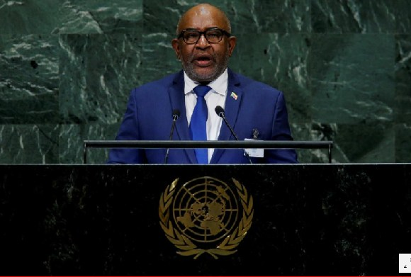 Comoros President Azali Assoumani addresses the United Nations General Assembly in New York