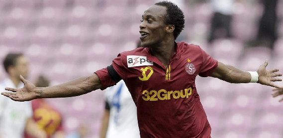 FC Servette's Yartey celebrates his goal during their Swiss Super League soccer match against FC Lausanne Sport in Geneva