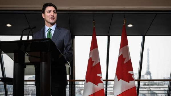 Justin Trudeau spoke to reporters at the Canadian embassy in Paris