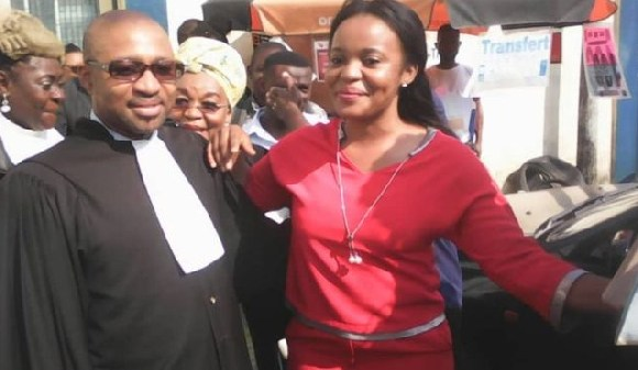 Mimi Mefo (Right) was in court to hear that charges were being dropped