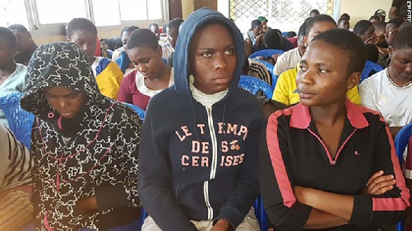 Released Cameroonian students seen for the first time in public as they met with authorities