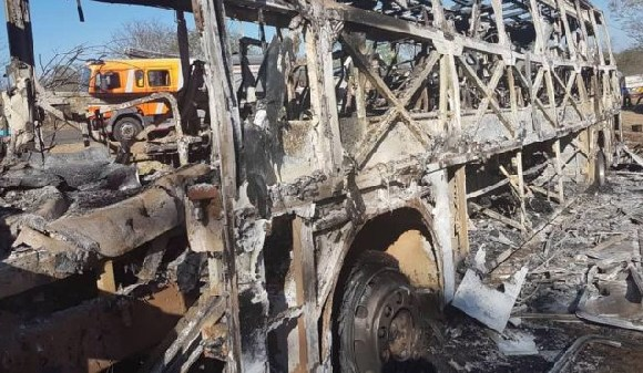 The bus was completely destroyed in the fire