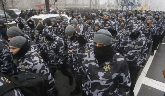 Ukrainian far-right groups attend a rally demanding to set martial law