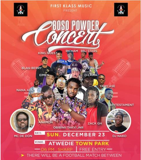 Boso Powder Concert takes place on December 23, Ghana Music News Articles