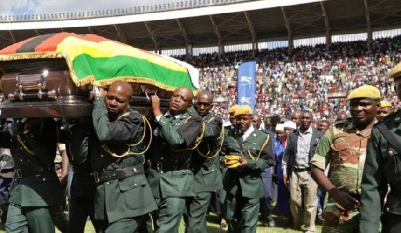 Mtukudzi's coffin was taken on a funeral procession through the national stadium