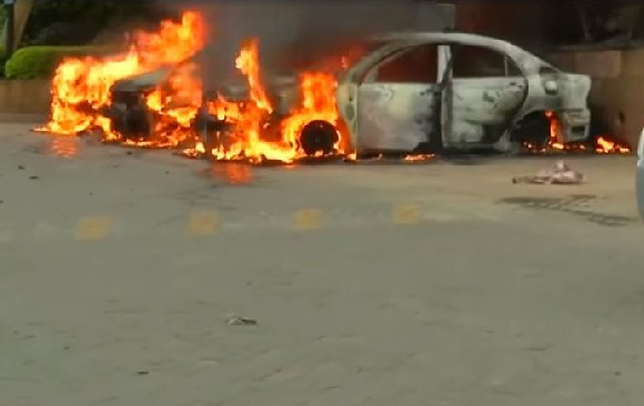 Several vehicles were set on fire in the car park