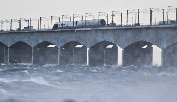 The incident closed the bridge linking the islands of Zealand and Funen