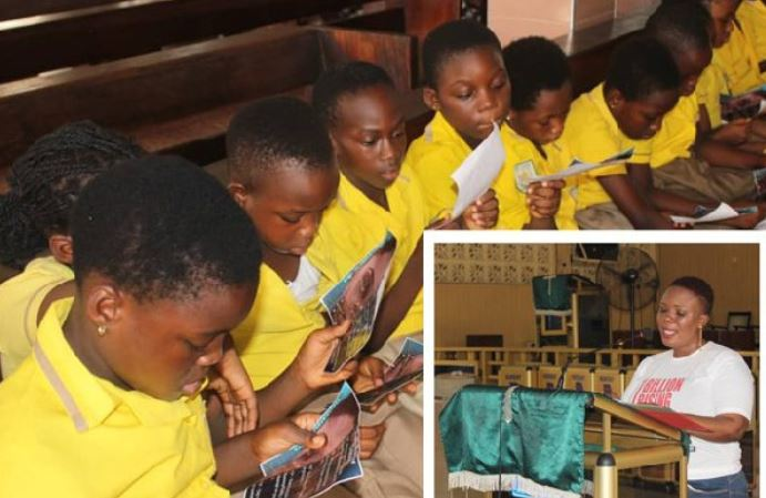 A section of the school children reading that PANTS rules