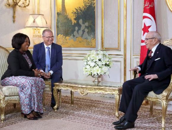 Foreign Affairs Minister Shirley Ayorkor Botchwey (Left) with the Tunisian President (Right)
