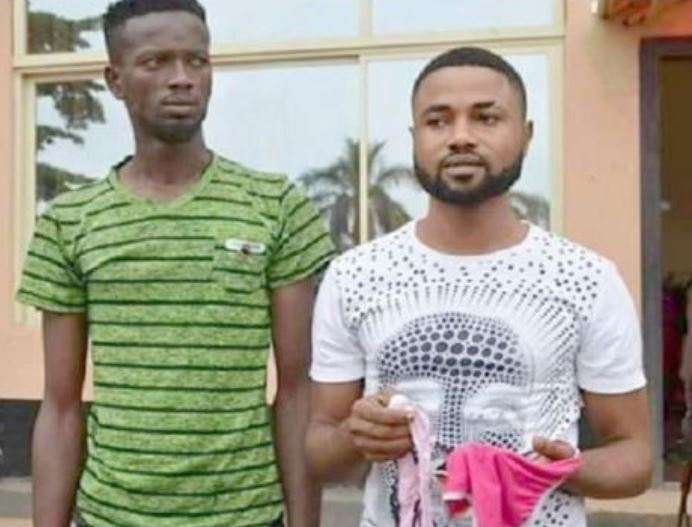 The two men, Bright Adjei and Douglas Owusu's picture has gone viral on Social Media for stealing