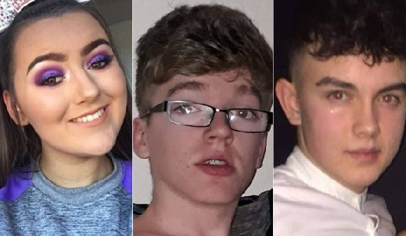 Lauren Bullock, 17, Morgan Barnard, 17, and 16-year-old Connor Currie died in the incident