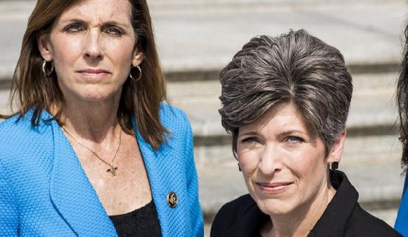 Martha McSally (L) and Senator Joni Ernst, who recently said she was raped in college